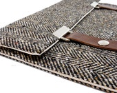 iPad / iPad Air case - black and brown herringbone tweed