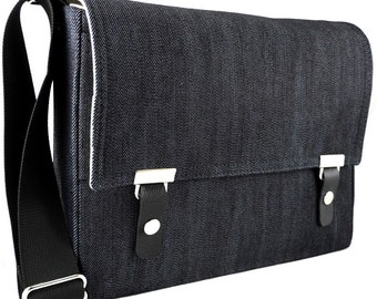 iPad / iPad Pro messenger bag - dark blue denim
