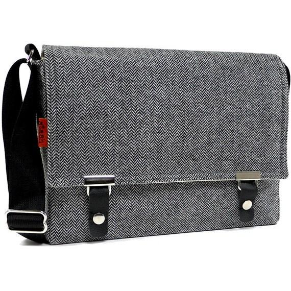 "13"" laptop messenger bag - gray herringbone wool"