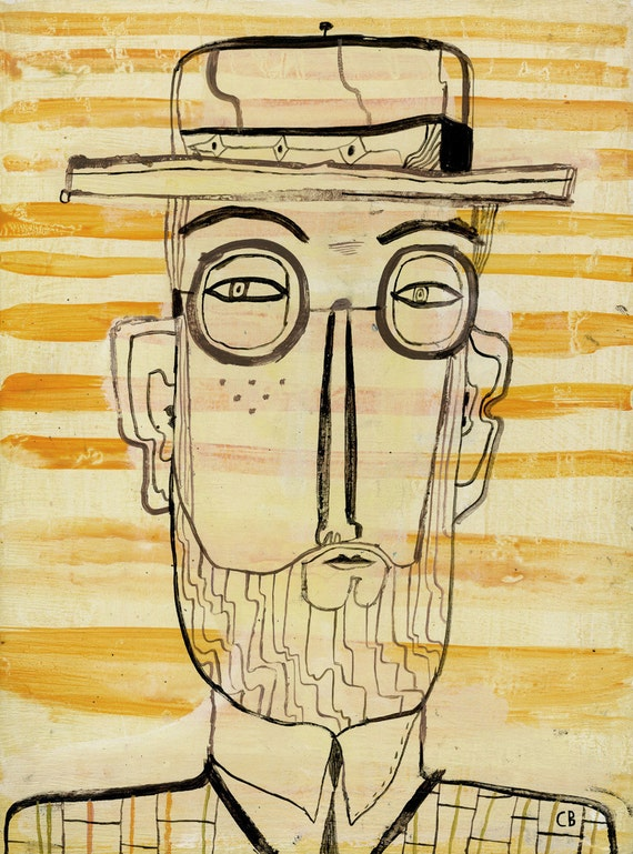 Bespectacled Man with Stripes by Calef Brown