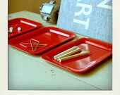 Small Metal Desk Organizer Tray Set - Bright Red