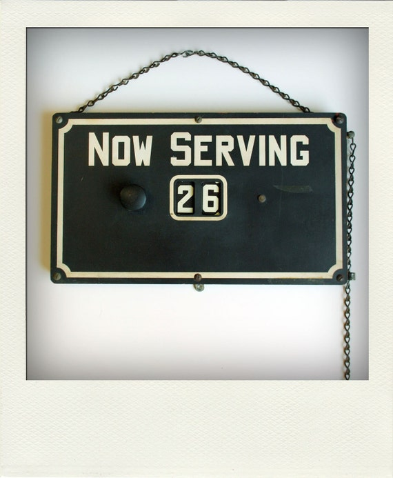 Vintage Industrial Now Serving Pull Chain Metal Sign