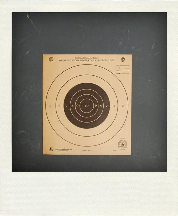 Vintage Graphic Paper Shooting Target Print - Bullseye