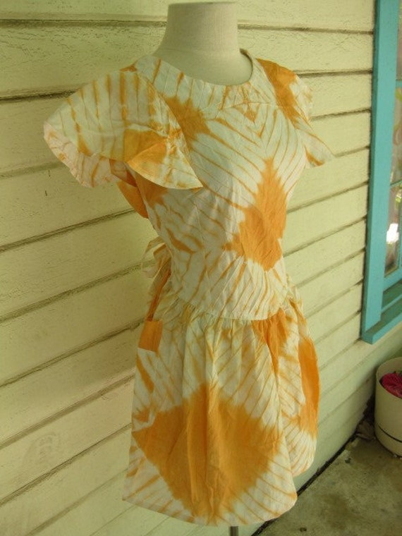 Tie Dye mini dress... tangerine and white light flutter sleeve dream...