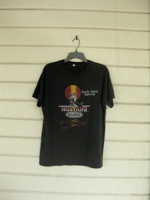 VINTAGE 80s tshirt funny MUSTANG RANCH thin soft black