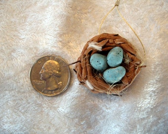 SALE  SALE  Polymer Clay Bird Nest and 3 Blue Eggs Bead  Christi Friesen
