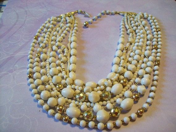 Vintage 9 Strand White and Gold Tone Necklace Jewelry Summer Fashion Clearance Sale