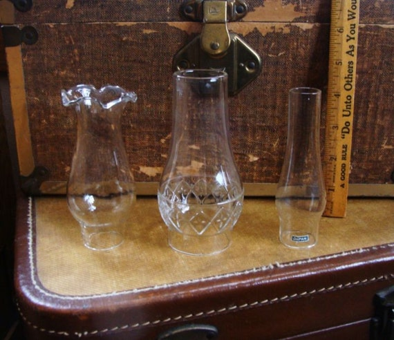3 Vintage Mini Glass Oil Lamp Chimneys For Miniature By