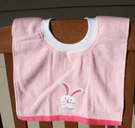 SALE Terry cloth Towel bib with Bunny Rabbit: one size for Infant, Toddler or Preschooler