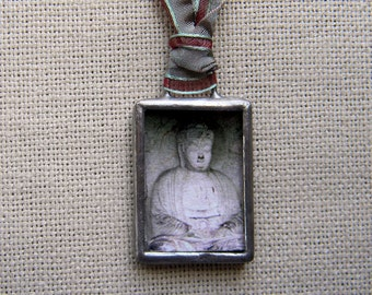 Buddha Necklace - Buddha Jewelry - Glass and Photography Pendant - Asian Art Jewelry - Wearable Art