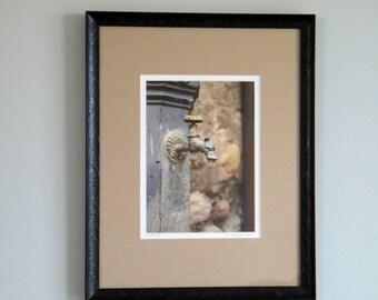 Framed Photography, Framed Rustic Decor, Framed Print, Italian Photography, Dragon Faucet Fountain, Tuscany Italy Art, Gargoyle Print