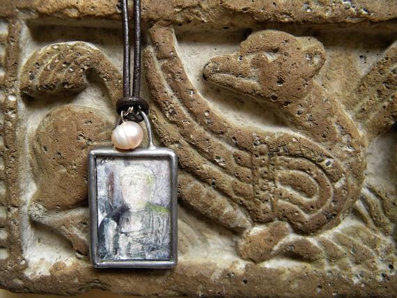 Photo Necklace - Buddha Pendant - Pearl Jewelry - Meditation Art - Nine Dragons Photography