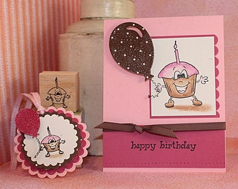 HAPPY BIRTHDAY CUPCAKE Rubber Stamp~Happy Cupcake Day Celebration~Available in two sizes. Wood mounted rubber stamp (05-09LG)(05-18SM)