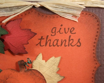 GIVE THANKS - Wood Mounted Rubber Stamp (mcrs 12-42)