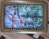 Custom Map Belt Buckle for Snap Belts, You Choose the City or Picture