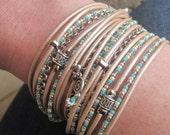 Womens Boho Leather Wrap Bracelet - Turquoise Beaded Bracelet - Leather Wrap Bangle - Chunky Leather Cuff - Choose 4 Charms - Customizeable