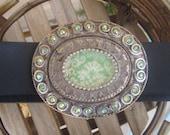 SUMMER SALE, was 35 Dollars Ladies Custom Removable Belt Buckle with Green Damask Design and Swarovski Crystals