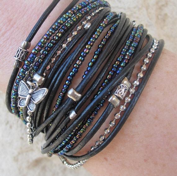 Black Boho Wrap Bracelet - Irridescent Miyuki Beads - Multistrand Cuff - Infinity Wrap - Choose FOUR Charms - Customizable - Best Seller