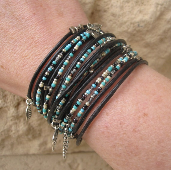 Wrap Bracelet - Free Spirit Style - Turquoise Beaded Bracelet - Best Boho - Best Selling Item - Choose FOUR Charms - Customizable