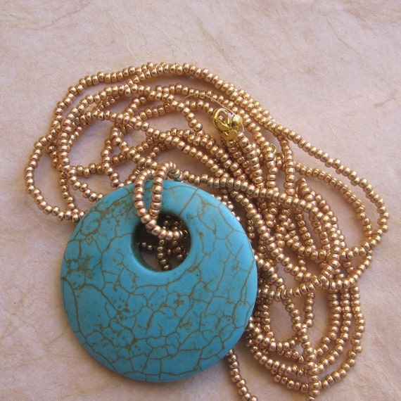 Turquoise Pendant on Triple Strand Gold or Silver Beaded Necklace