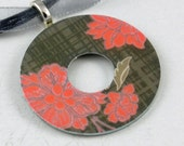 Upcycled Washer Pendant - Pink Flowers on Gray