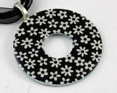 Upcycled Washer Pendant - Black and White Daisies