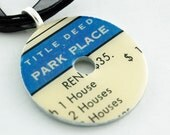 Upcycled Washer Pendant - Vintage Monopoly Card - Park Place