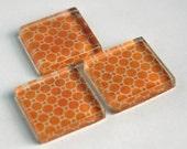 Glass Tile Magnet Sets - Vintage Orange
