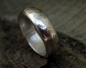 6mm silver band from forged recycled sterling silver