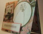 Handmade Card/CONGRATULATIONS/Wedding/Golden Couple/Vintage Style