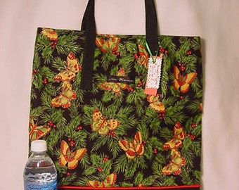 Christmas Glitter Butterfly Market /Grocery /  Unlined Lunch tote /  Shopping Tote / Book Bag / Gift Bag