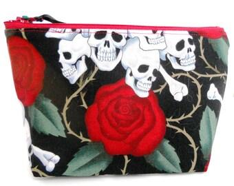 Skulls and Rose  Make Up Bag / Coin Bag / Storage Bag / Cell Phone Bag
