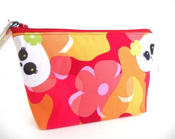 Cute Skully and Flower  Make Up  / Coin / Storage / Cell Phone Bag / Organizer
