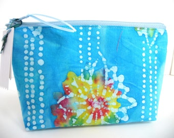 Flower Power Batik  Make Up Bag / Coin / Storage / Cell Phone Pouch