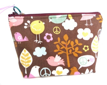 Peace Birdie  Make Up Bag / Coin Bag / Storage Bag / Cell Phone Bag / Organizer