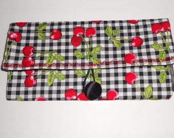Cherry Check Coupon Organizer Storage Case  with Dividers