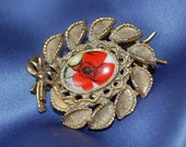 Vintage hand painted ruby red flower glass and brass hair barrette