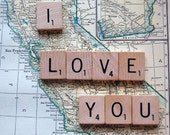Vintage California Map with Scrabble tile message 'I Love you'