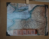 Vintage style greeting card 1928 vintage New York map blank photo notecard with scrabble tile Hello