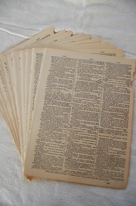 Vintage Dictionary Collage Papers Ephemera Scrapbook Backdrop Photo Prop