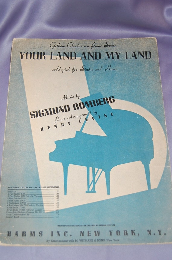 "Vintage Blue Sheet Music ""Your Land and My Land"""