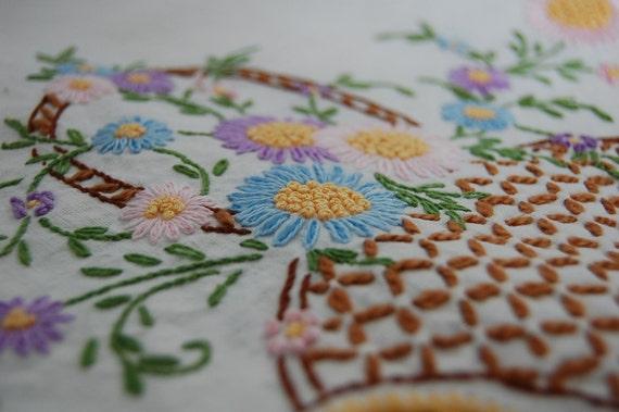 Vintage Hand Embroidered Flower basket table topper cloth