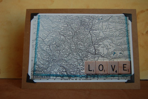 "Vintage Colorado map with Scrabble tile message ""Love"" photo blank greeting card wedding anniversary"