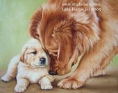 8x10 Golden Retriever Fine Art Giclee Print by LARA