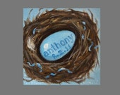 CUSTOM Baby's Nest Painting in OIL by LARA Personalized 12x12