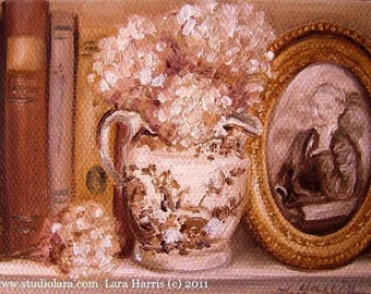 CUSTOM Hydrangea in Pitcher with Old Books Painting in OIL by LARA 3x3 aceo floral still life mini