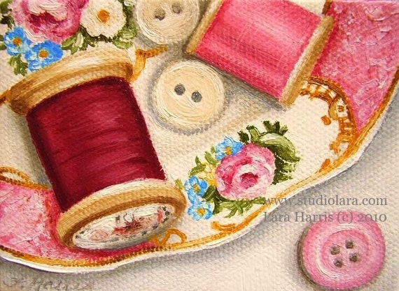 BuTtoNs and THreAd on PiNk FLoRaL Plate Painting in OIL by LARA