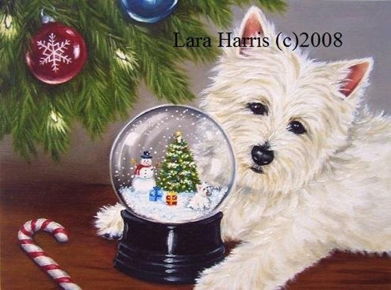 8x10 Christmas Westie West Highland Terrier Fine Art Giclee Print by LARA Holiday