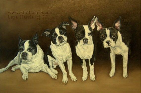 11x14 Four Boston Terriers Fine Art Giclee Print by LARA