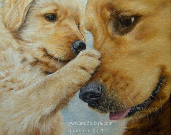8x10 Golden Retriever Fine Art Giclee Print by LARA